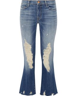Selena Distressed Cropped Mid-rise Bootcut Jeans