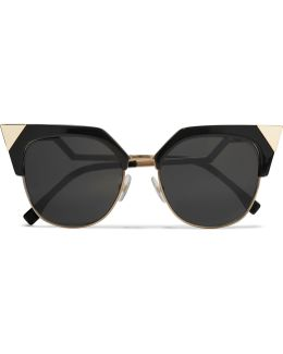 Iridia Cat-eye Gold-tone And Acetate Sunglasses