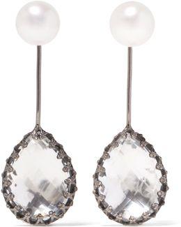 Antoinette Rhodium-dipped, Quartz And Pearl Earrings
