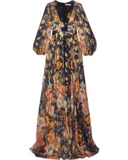 Exclusive Floral-print Metallic Fil Coupé Silk-gauze Maxi Dress