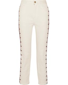 Exclusive Cropped Embroidered High-rise Straight-leg Jeans