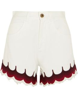 Exclusive Scalloped Embroidered Denim Shorts