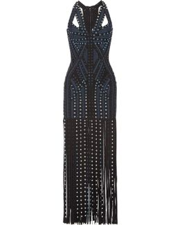Eyelet-embellished Fringed Bandage Maxi Dress