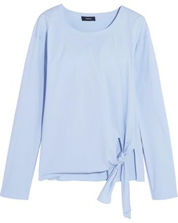 Serah Tie-front Cotton-blend Poplin Top