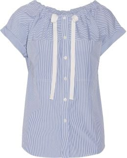 Velvela Gathered Striped Cotton-poplin Top