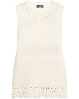 Meenaly Tasseled Macramé Cotton-blend Top