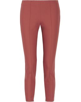 Alettah Cropped Stretch Cotton-blend Tapered Pants