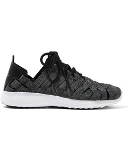 Juvenate Premium Faux Textured Leather-trimmed Woven Sneakers