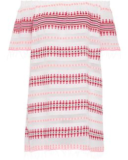 Tabtab Off-the-shoulder Striped Cotton-blend Gauze Mini Dress