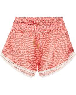 Paloma Printed Silk-satin Shorts