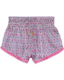 Paloma Crochet-trimmed Printed Silk-satin Shorts