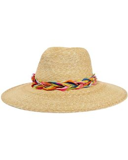 Emmanuelle Feather-trimmed Straw Sunhat