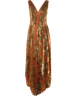 Pleated Printed Silk-blend Lamé Wrap Gown