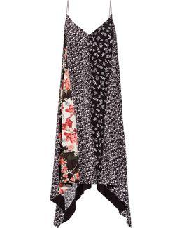 Londar Asymmetric Floral-print Crepe Midi Dress