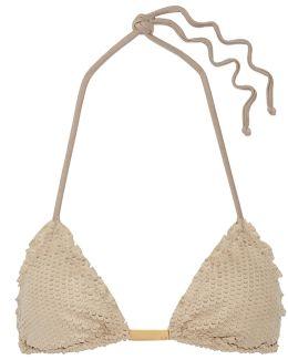 Laser-cut Faux Suede Triangle Bikini Top