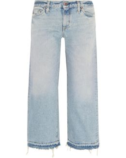 W005 Grants Cropped Frayed Wide-leg Jeans