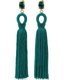 Tasseled Silk, Gold-tone And Swarovski Crystal Clip Earrings
