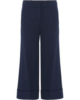 Cropped Wool-blend Wide-leg Pants