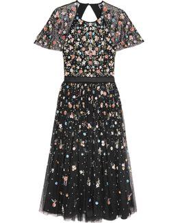 Starburst Open-back Embellished Tulle Dress
