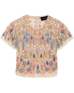 Flowerbed Embellished Tulle Top