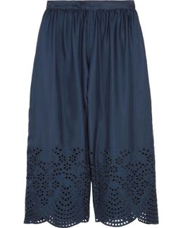 Eden Cropped Broderie Anglaise-trimmed Silk-satin Pants