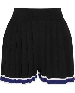 Aracari Pleated Striped Stretch-knit Shorts