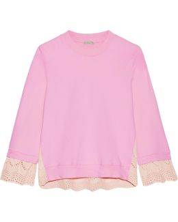 Broderie Anglaise-paneled Cotton-jersey Sweatshirt