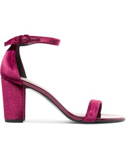 Nearlynude Patent-leather Trimmed Velvet Sandals