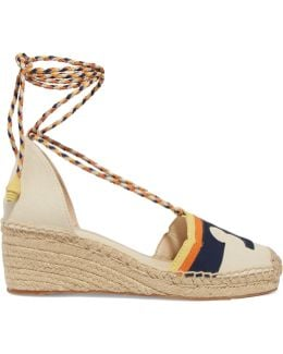 Laguna Leather-trimmed Canvas Wedge Espadrilles
