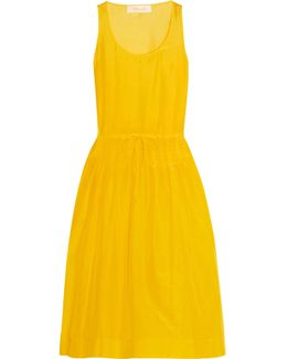 Pleated Cotton And Silk-blend Gauze Dress