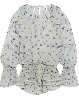 July Ruffled Floral-print Georgette Blouse