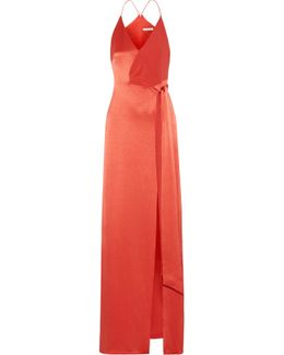 Wrap-effect Crepe-paneled Satin Gown