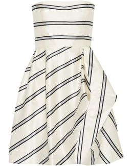 Strapless Striped Satin-twill Mini Dress