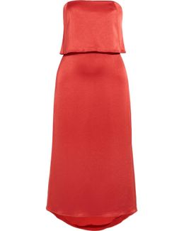 Layered Satin Midi Dress