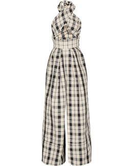 Artichoke Hearts Cutout Checked Cotton And Linen-blend Jumpsuit