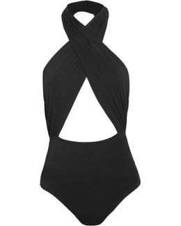 Bisou Move Cutout Stretch-jersey Halterneck Bodysuit