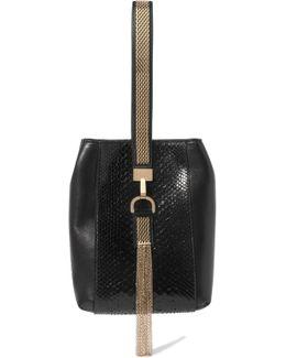 Embellished Python And Leather Wristlet Bag