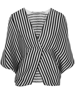 Wrap-effect Striped Ribbed Silk Top