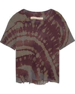 Distressed Tie-dyed Cotton-blend Jersey T-shirt