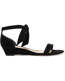 Atena Bow-embellished Suede Wedge Sandals