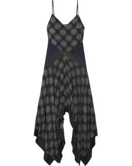 Silk Satin-paneled Printed Crepe Midi Dress