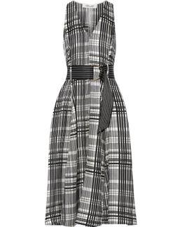Plaid Belted Silk-twill Midi Dress
