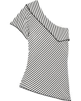 One-shoulder Striped Silk Top