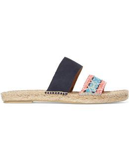 Hamptons Suede And Brocade Espadrille Slides