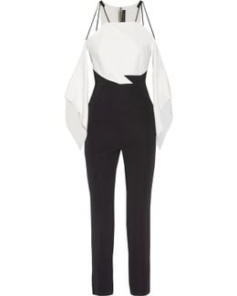 Benford Cutout Two-tone Stretch-cady Jumpsuit