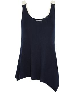 Asymmetric Cotton-trimmed Ribbed Merino Wool Tank