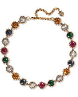 Burnished Gold-tone Crystal Necklace