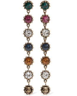 Burnished Gold-tone Crystal Earrings