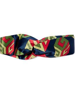 Twisted Printed Silk-satin Headband