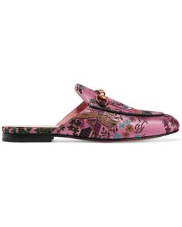 Princetown Horsebit-detailed Metallic Jacquard Slippers